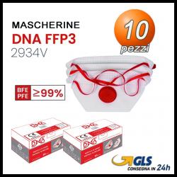 10 Mascherine FFP3 con valvola FILTRAGGIO >99% DNA Certificata CE