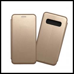 Custodia a libro con chiusura magnetica flip per Samsung Galaxy S10 oro