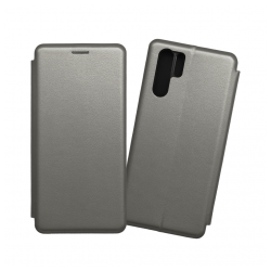 Custodia a libro realizzata in pelle con copertina magnetica per Huawei P30 Pro grigio