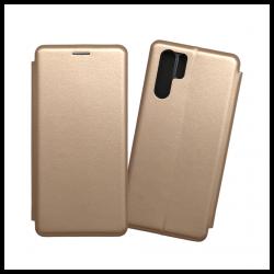 Custodia a libro realizzata in pelle con copertina magnetica per Huawei P30 Pro oro