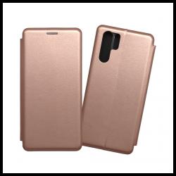 Custodia a libro realizzata in pelle con copertina magnetica per Huawei P30 Pro oro rosa