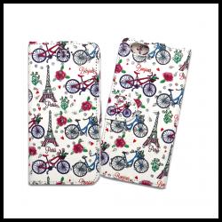 Custodia a libro con chiusura magnetica flip per Apple iPhone 6 / 6S fantasia bici, torre eiffel e fiori
