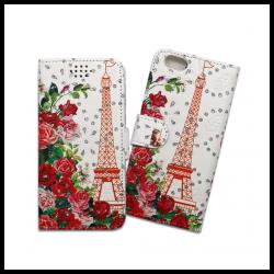 Custodia a libro con chiusura magnetica flip per Apple iPhone 6 / 6S fantasia torre eiffel e rose