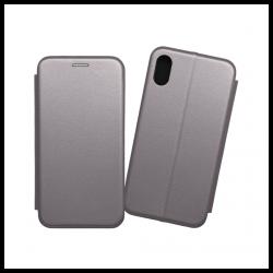 Custodia a libro realizzata in ecopelle con copertina magnetica per Apple iPhone XS Max argento