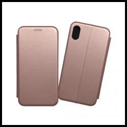 Custodia a libro realizzata in ecopelle con copertina magnetica per Apple iPhone X oro rosa
