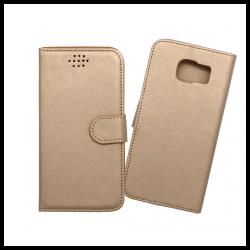 Custodia a libro con chiusura magnetica flip per Samsung Galaxy S6 oro