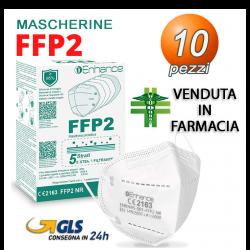 10 Mascherine FFP2 Enhance filtrante 5 Strati Certificata CE Venduta in farmacia