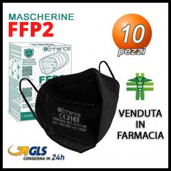 10 Mascherine FFP2 Enhance Nero 5 Strati Certificata CE Venduta in farmacia