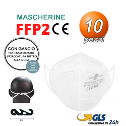 Mascherine FFP2 CHERRY con gancio nuca Certificate CE0589 10 pezzi