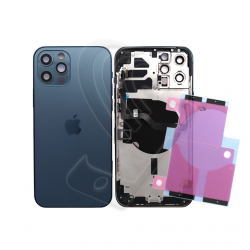 SCOCCA POSTERIORE + FLEX Per iPhone 12 Pro Max TELAIO VETRO BACK COVER HOUSING Blu / Blue