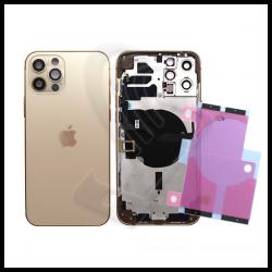 SCOCCA POSTERIORE + FLEX Per iPhone 12 Pro Max TELAIO VETRO BACK COVER HOUSING Oro / Gold